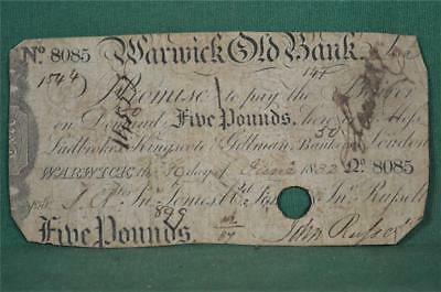 Antique £5 Five Pound Banknote Warwick Old Bank 1832  (B87)