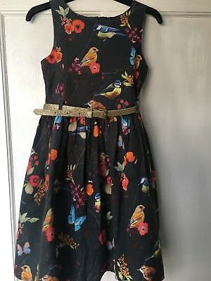 NEXT SIGNATURE GIRLS AGE 6 YEARS GREY BIRD PRINT DRESS,party,special occasion