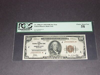 $100 Star Kansas City District. FRBN.  PCGS58. Low Serial Number.