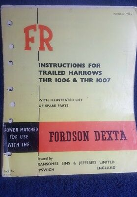 Fordson Dexta tractor Instructions mounted disc harrow thu 1006/1007  spare list
