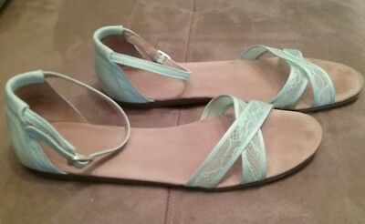 Toms Correa mint satin lace sandals wedding shoes, sz 10