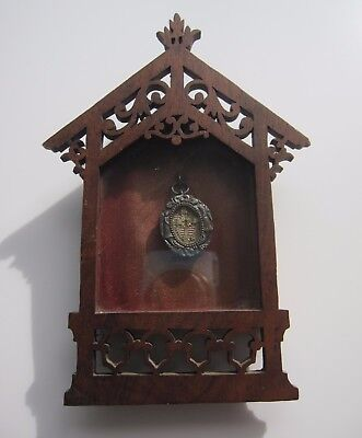 Antique French Relic Wood Silver pendant reliquary religious old medallion