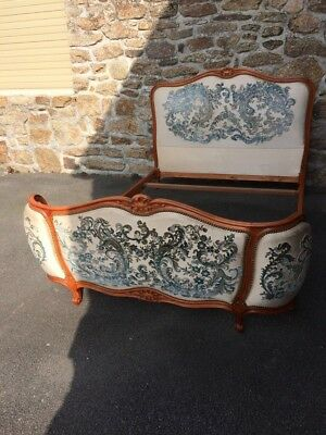 Vintage French Louis XV Style Corbeille Upholstered Double Bed Frame