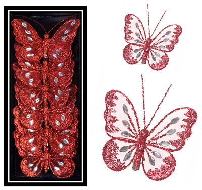 Mesh Clip on Red Butterflies Wedding Christmas Table Decoration Craft Butterfly