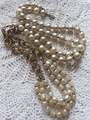 Miriam Haskell 1950's Faux Baroque Pearls & Brass Chain Flapper Necklace ~Signed
