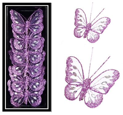Mesh Clip on Lilac Butterflies Wedding Christmas Table Decoration Butterfly