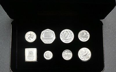 1980 Isle Of Man Sterling Silver Proof Coin Collection Cased & Cert
