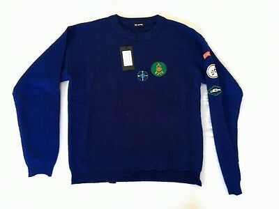 100% Authentic Raf Simons Destroyed Virgin Wool Sweater Jumper - M Blue