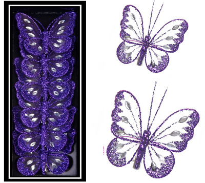 Purple Jewelled Decorative Mesh Clipon Butterfly Wedding Table Craft Butterflies