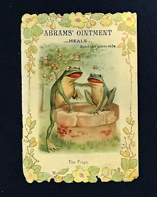 Abrams Ointment Victorian Embossed Litho Trade Card - The Frogs