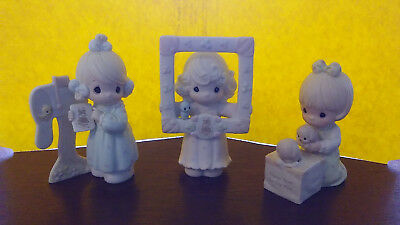 Lot of 3 Precious Moments Porcelain Figurines Members Only Christmas with boxes