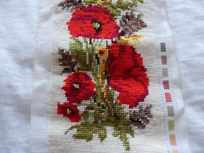 """Completed tapestry of poppies 34"""" x 5.5"""" by Readicut"""