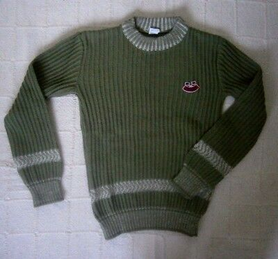 Vintage Ribbed Italian Sweater - Age 6-8 Approx - Olive Green -  Acrylic - New