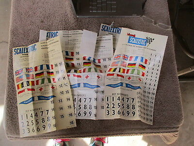 Vintage Tri Ang Scaletrix 5 Sheets of Original Numbers & Flags