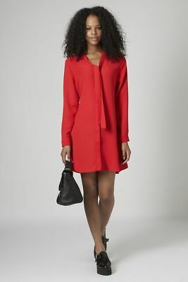 Topshop Red Pussybow Shirt Dress long sleeves UK8 RRP £42 BNWT AW17 Trend