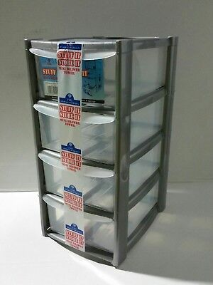 4 Drawer Mini Storage Tower Unit Make-up Organizer Sewing Garage Stationary