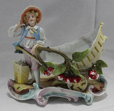 """Antique Porcelain Figure of Boy with Cart and Apples - 10 1/2"""" Tall Figurine"""