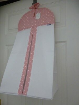 Baby Nappy Stacker - Pink/White Spot Trim - 100% Cotton - Baby Shower Gift -BNWT