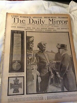 WW1,daily mirror,nov 16th,1914,death of lord roberts, indian troops,original