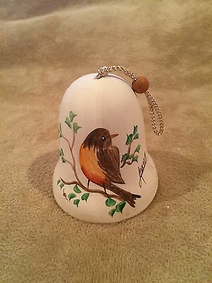 "Vintage~Robin~Bell~3""~Collect~Signed~Anna~Hand Painted~Bird~Decor~Rare~Craft~Art"
