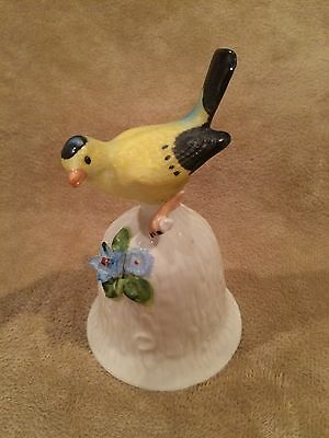 Vintage~TOWLE~FINE BONE CHINA~Bell~YELLOW FINCH BIRD~Flowers~Brinn's~Taiwan~