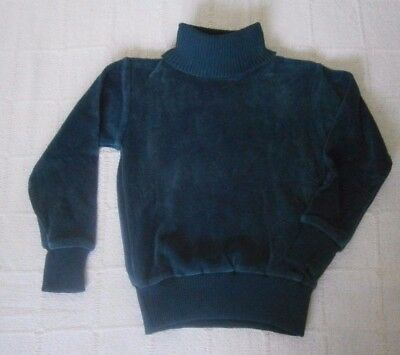 Vintage Stretch Velour Polo-Neck Jumper - Age 6 - Bottle Green - Danish - New