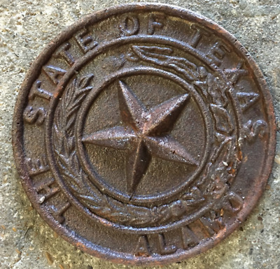 One (1) Large Cast Iron Texas Architectural Antique Lone Star Rustic Ranch Plate
