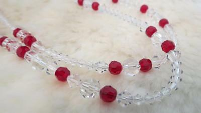 """Vintage Long 32"""" Length Red & Clear Round Bicone Facet Cut Crystal Bead Necklace"""