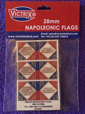 French Napoleonic Flags 28mm 17th, 30th, 61st Regiments  1804 Pattern + Finials
