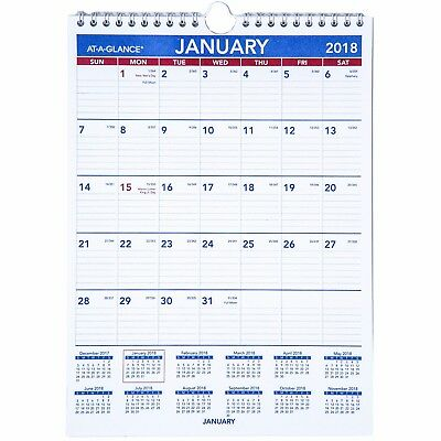 """2018 At-A-Glance PM1-28 Monthly Wall Calendar With Hanger, 8 x 11"""""""