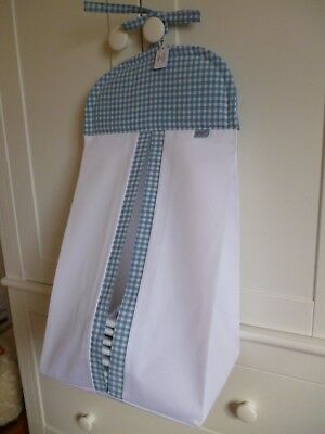 Baby Nappy Stacker - Blue/White Gingham - 100% Cotton - Baby Shower Gift -BNWT