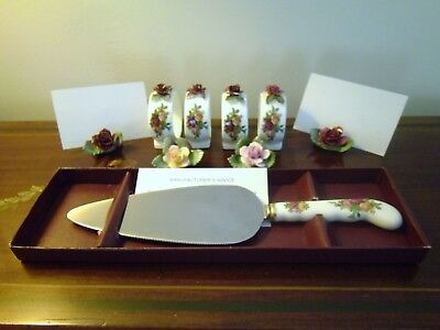 Royal Albert Old Country Roses  4 Name Place & Napkin Holders & Cake Slicer