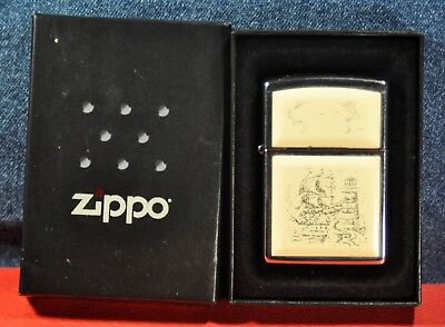 """Zippo"" Lighter  Scrimshaw Ship Emblem  model: 359"