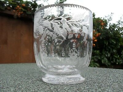 Antique Footed Glass Tea Caddy Sugar Bowl - Mixing - Lead Crystal
