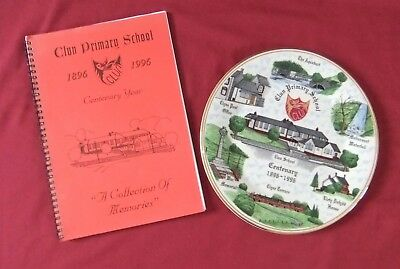 China Plate 100th Anniversary Clun County Primary School Vale Of Neath & Booklet