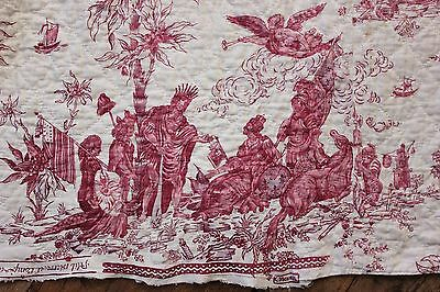 "French Toile ""America pays homage to France"" FACTORY MARK chef de piece Nantes"