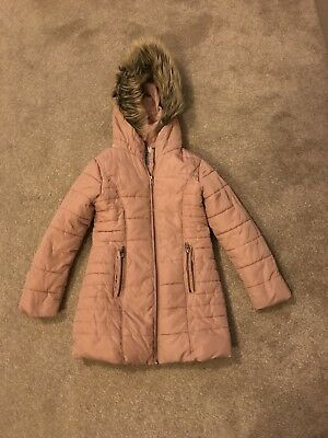 Next Padded Dusky Pink Girl's Coat With Hood, Age 7