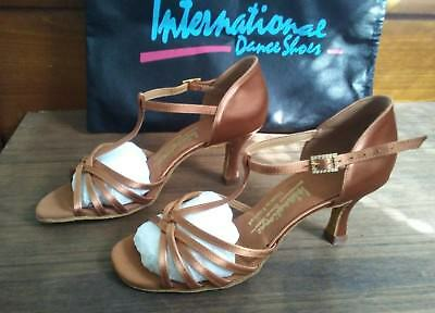 "New International Dance shoes ladies  3"" heel tan satin England 6.5"