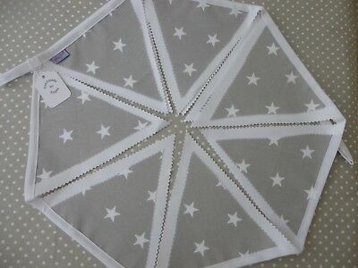 Grey & White STAR Cotton Bunting 2M Nursery Baby Shower Gift Baby Room Brand NEW