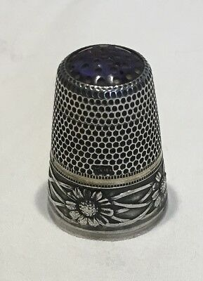 Art nouveau thimble with coloured glass insert, marked 800 (European silver?)