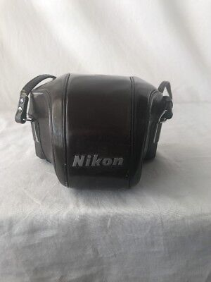 Vintage Nikon F CTT Molded Brown Leather Camera Case w/ Strap