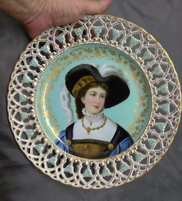Old Antique Hand Painted Art Porcelain Painting Elegant Lady Woman Cabinet Plate