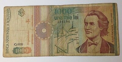 Dated : 1991 - Romania - 1000 Lei - Banknote Paper Money