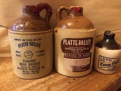 Set of 3 Small Vintage Earthenware Corn Whiskey Jugs