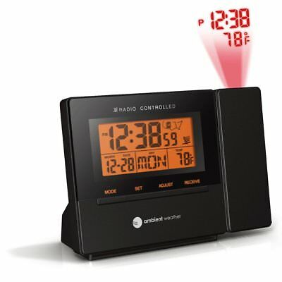 Radio Controlled Projection Alarm Clock w/ Indoor Temperature Ceiling/Wall Clear