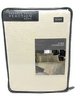 KENNETH COLE Ivory RADIANT Matelasse KING COVERLET