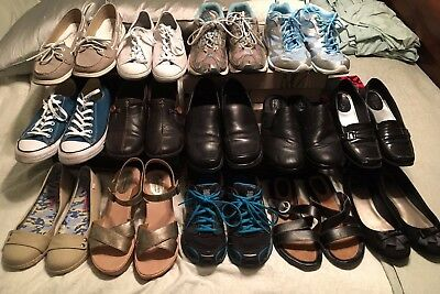 Lot 14 pairs women shoes B.O.C by Born Sperry Converse Clarks Frank Sarto Ryka