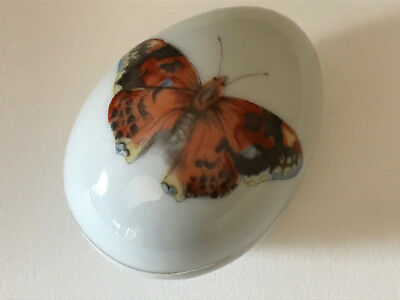 Vintage Limoges Trinket Box Butterfly Motif Egg Shaped France
