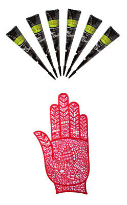 Special Gift Pack for Christmas, Super Black Henna Mehand with Rubber Stencil