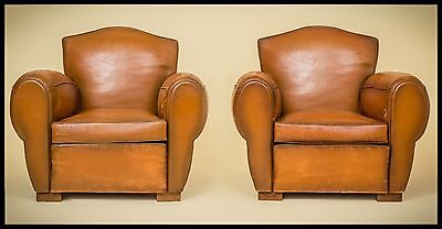 """Leather Club Chairs Gendarme 1930s."""" MARTIGUES"""""""